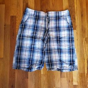 Mens blue plaid shorts